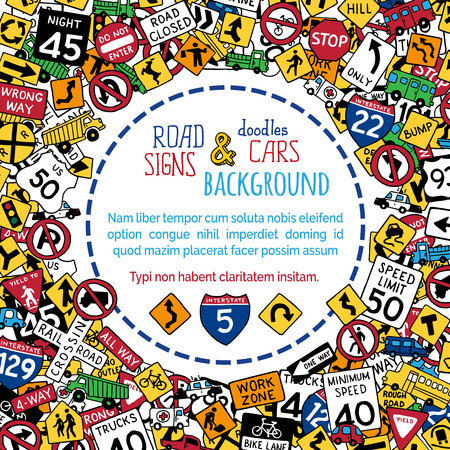 Vector background of hand-drawn road signs and vehicles. Doodles children background. There is copy space for text in the center. Stock Illustratie
