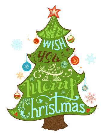 christmas tree: We Wish You a Merry Christmas. Merry Christmas Lettering in Christmas Tree Silhouette. Hand-written text, holly berry, Christmas balls, snowflakes, star on the top of Christmas tree. Isolated on white background.