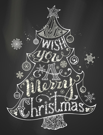 We Wish You a Merry Christmas. Chalk Merry Christmas Lettering in Christmas Tree Silhouette on blackboard background. Hand-written text, holly berry, Christmas balls, snowflakes, star on the top of Christmas tree. Black and white illustration.