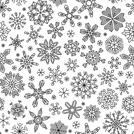 Seamless linear snowflakes pattern. Black vintage outlined snowflakes on white background. Boundless texture can be used for web page backgrounds, wallpapers, wrapping papers, invitation, congratulations and festive designs. 矢量图像