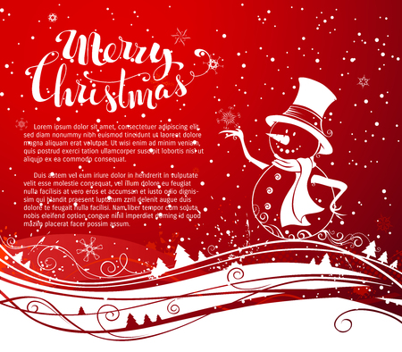 snowman background: Christmas snowman background. Cute snowman in hat and scarf. Waves pattern. Hand-written Merry Christmas. There is copy space for your text.