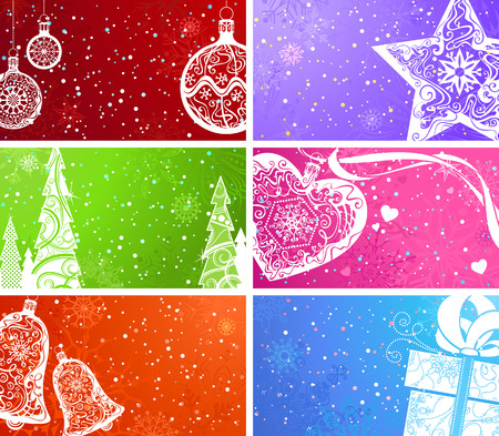 inch: Vector set of Christmas banners. Colourful backgrounds with Christmas elements. Christmas balls, Christmas tree, Christmas decorations, bell, heart, star and gift. The size of each background is 3,2x2 inch, as size of business card. There is copy space fo