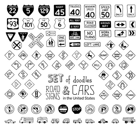 speed limit sign: Vector set of doodles road signs. Hand-drawn design elements isolated on white background.