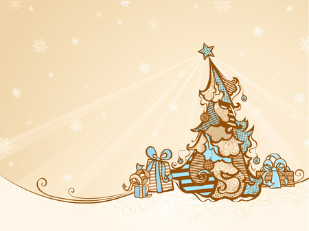 retro christmas: Christmas Tree Background. Retro winter background with Christmas tree and gifts in sepia. There is copy space for your text.