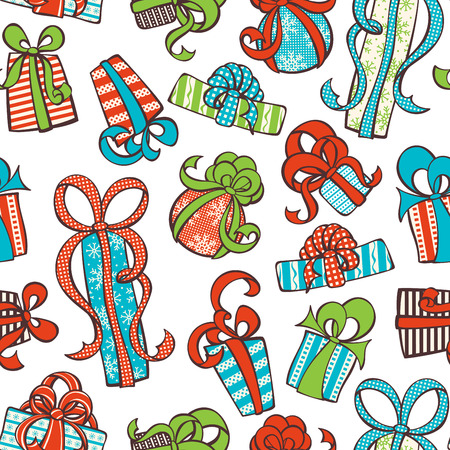 boundless: Seamless gifts pattern. Various hand-drawn gifts on white background. Boundless texture can be used for web page backgrounds, wallpapers, wrapping papers, invitation, congratulations and festive designs.