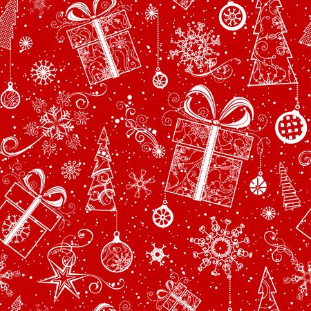 Bezešvé vánoční vzor. Vintage ozdobený vánoční stromeček, vánoční ozdoby, vánoční koule, víry, hvězdy a sněhové vločky. Červené a bílé pozadí bezmezná.