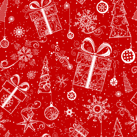 boundless: Seamless Christmas pattern. Vintage ornate Christmas tree, Christmas decorations, Christmas balls, swirls, stars and snowflakes. Red and white boundless background.