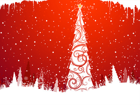 red christmas background: Christmas Tree Background. Red winter background with Christmas tree in the center. There is copy space for your text.