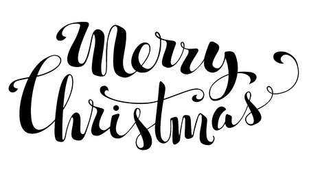 Merry Christmas Lettering. Hand-written text isolated on white background.