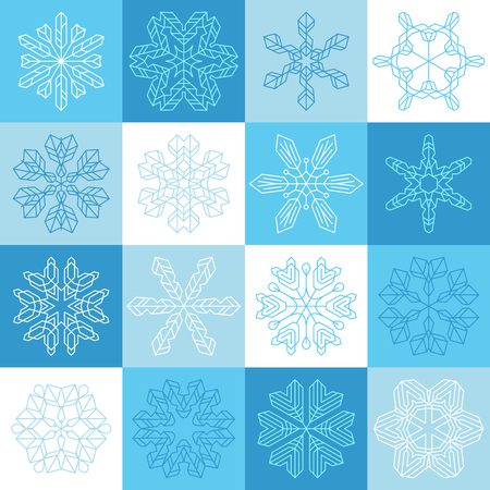 is outlined: Flat outlined snowflake icons. Vector set of vintage linear snowflakes. Illustration