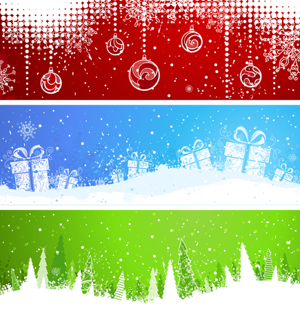 christmas backgrounds: Three Christmas banners. Horizontal red, blue and green backgrounds for your Christmas design. There is copy space for your text.