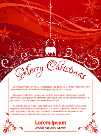 Red Christmas background. Bright background with Christmas tree decoration on foreground, snowflakes and swirls elements on red grunge background. There is copy space for your text on white area.