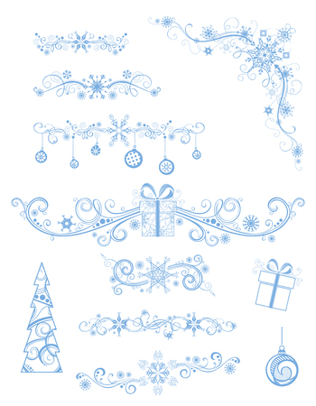 tree outline: Christmas page dividers and decorations isolated on white background. Vintage ornate festive decorations of Christmas tree, gifts, snowflakes and Christmas balls.