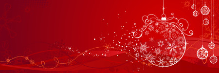 Red Christmas banner. Horizontal background with snowflakes, Christmas tree decorations and grunge elements for your design. There is copy space for your text. Stock Illustratie