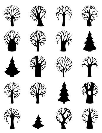 duotone: Vector set of tree symbols. Various round trees and firs isolated on white background. Black and white duotone illustration.