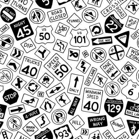 night road: Seamless pattern of cartoon road signs in the United States. Vector hand-drawn traffic signs background. Boundless texture can be used for web page backgrounds, wallpapers, wrapping papers, invitation, congratulations and children designs.