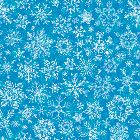 boundless: Seamless winter snowflakes pattern. Hand-drawn snowflakes on blue background. Boundless texture can be used for web page backgrounds, wallpapers, wrapping papers, invitation, congratulations and festive designs.