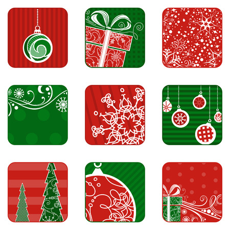 christmas isolated: Christmas icons set. Square festive design elements isolated on white background. Christmas tree, Christmas decorations, snowflakes, gifts and Christmas balls. Red and green illustrations.