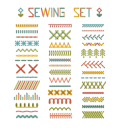 Vector set of high detailed stitches and seams. Various sewing design elements isolated on white background. All used pattern brushes included.