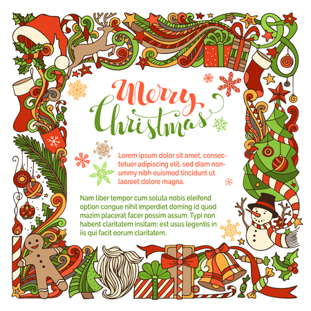 ribbons and bows: Merry Christmas background. Christmas tree and Christmas balls, gifts and bows, snowman, gingerbread man, deer, bells and ribbons, Santa sock, Santa hat, Santa beard and glasses, holly berries, stars, cup, candle, hand-written text. Hand-drawn Christmas f Illustration