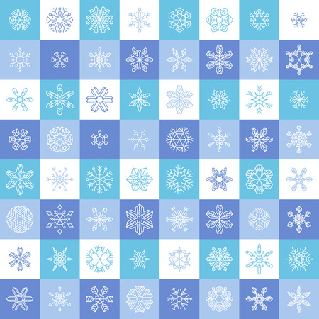 is outlined: Flat linear snowflake icons. Vector set of vintage outlined snowflakes.
