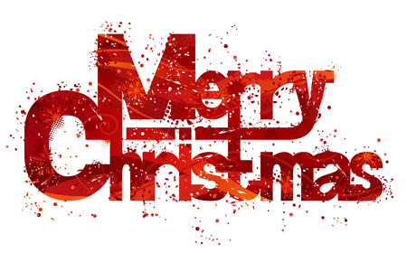 bright card: Text Merry Christmas made from red grunge background and snowflakes. Isolated on white background.