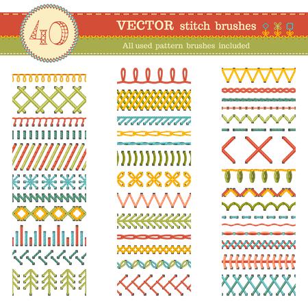 hilo rojo: Vector conjunto de cepillos puntada sin costura. Los patrones de costura, costuras, bordes, decoraciones de p�gina y separadores aislados sobre fondo blanco. Todos los pinceles de motivo utilizadas incluyeron.