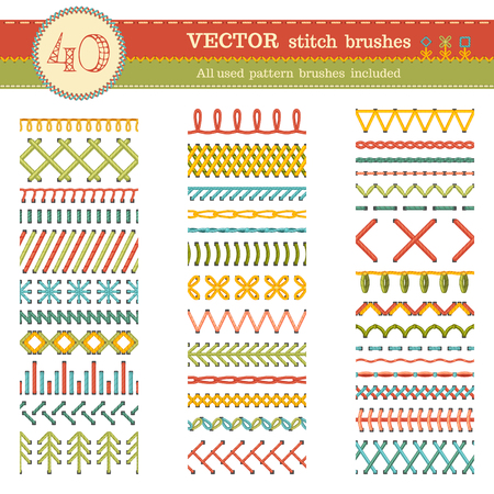 Vector set of seamless stitch brushes. Sewing patterns, seams, borders, page decorations and dividers isolated on white background. All used pattern brushes included.