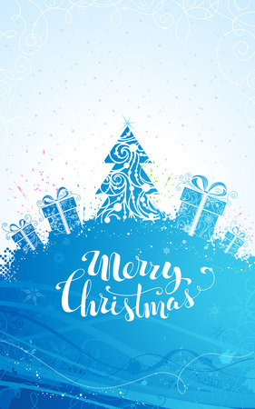 bright christmas tree: Blue Christmas tree background. Ornate Christmas tree and gifts on bright background. There is copy space for your text on the top and at the foot of the page. Illustration