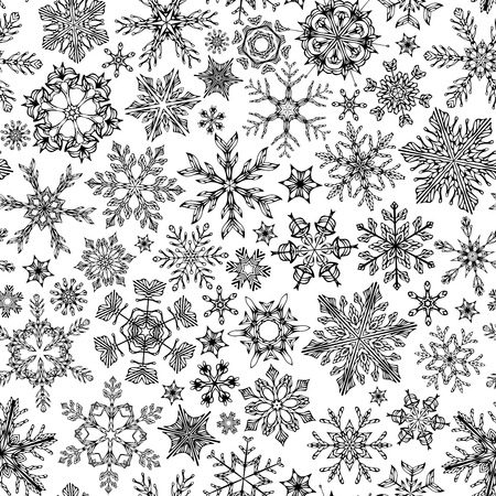 boundless: Seamless snowflakes pattern. Black vintage outlined snowflakes on white background. Boundless texture can be used for web page backgrounds, wallpapers, wrapping papers, invitation, congratulations and festive designs.