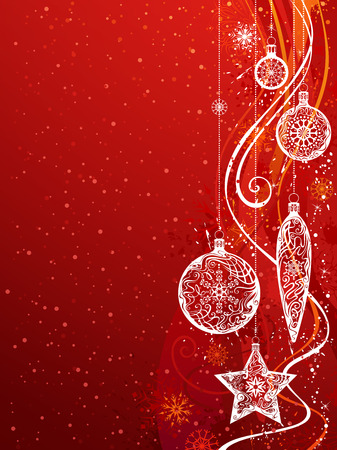 red christmas background: Red Christmas Background. Vector background with snowflakes, Christmas balls and decorations on grunge ornate background. There is copy space for your text. Illustration
