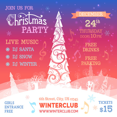 new year poster: Merry Christmas music party template. Hand-written text, ornate Christmas tree, snowflakes, evening winter landscape. There are places for your text on white area and in the sky.