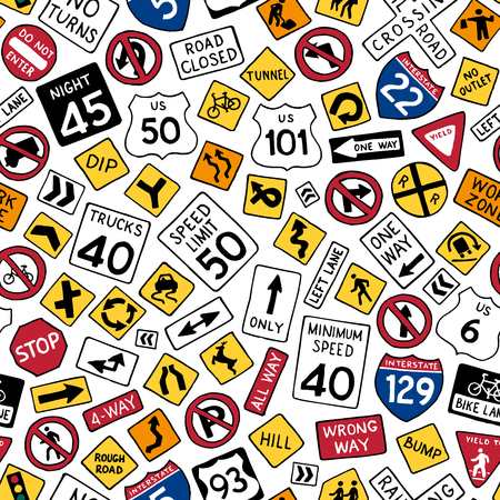 Seamless pattern of cartoon american road signs. Vector hand-drawn traffic signs background. Boundless texture can be used for web page backgrounds, wallpapers, wrapping papers, invitation, congratulations and children designs.