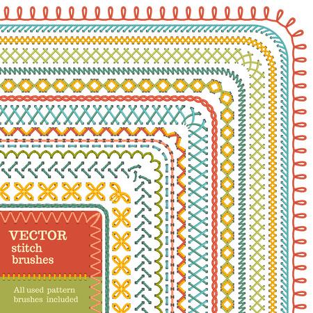 벡터 원활한 높은 상세한 스티치 브러쉬 세트. 재봉 테두리, 솔기, 패턴, 페이지 장식 및 분배기 흰색 배경에 고립입니다. 모든 사용 패턴 브러쉬가 포