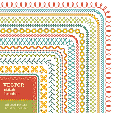 Vector set of seamless high detailed stitch brushes. Sewing  borders, seams, patterns, page decorations and dividers isolated on white background. All used pattern brushes included.