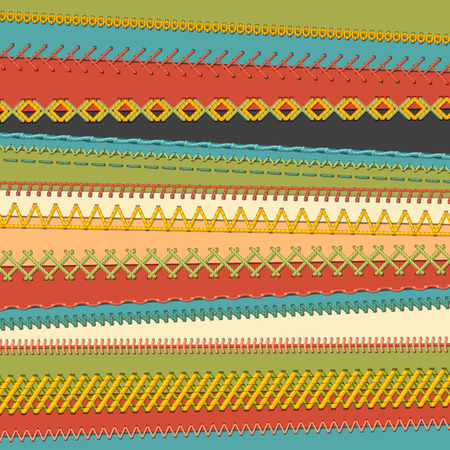 Set of seamless stitch brushes. Vector set of sewing borders, seams, page decorations and dividers on textile background. All used pattern brushes included.