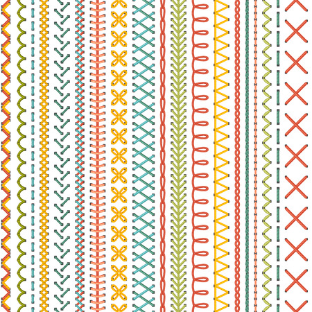 sew: Seamless embroidery pattern. Vector high detailed colourful stitches on white background. Boundless background.