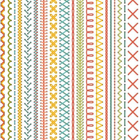 sew: Sin fisuras patr�n de bordado. Vector de alta detallado puntos de colores sobre fondo blanco. de fondo sin l�mites.