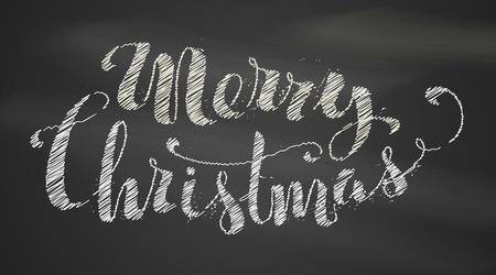 black white: Chalk Merry Christmas Lettering. Hand-written chalk text on blackboard background. Illustration