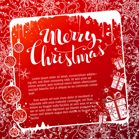 icicles: Red Christmas frame. Vintage Christmas balls, gifts, snowflakes and icicles on red background. Hand-written Merry Christmas. There is copy space for your text in the center of frame.