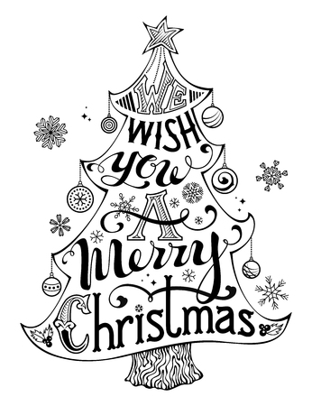 baubles: We Wish You a Merry Christmas. Hand-written text, holly berry, Christmas balls, snowflakes, star on the top of Christmas tree. Black and white illustration. Isolated on white background. Illustration