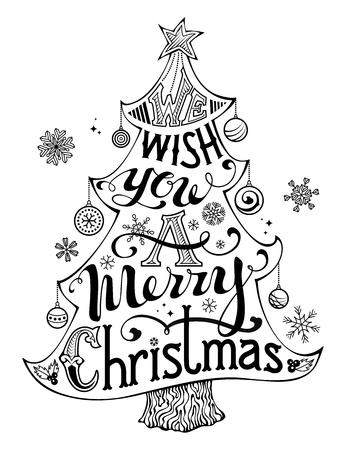 We wish you a merry Christmas. Met de hand geschreven tekst, hulst bessen, kerstballen, sneeuwvlokken, ster op de bovenkant van de kerstboom. Zwart-wit afbeelding. Geïsoleerd op een witte achtergrond.