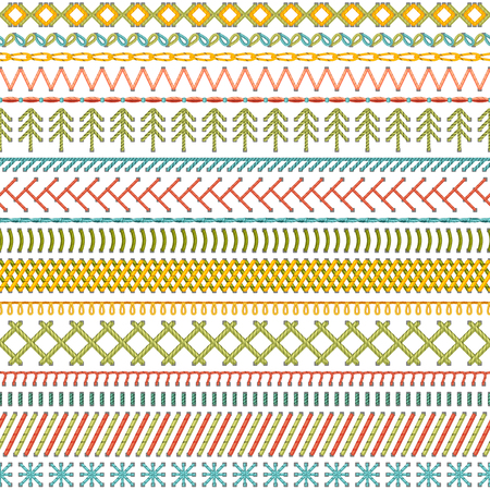 boundless: Seamless sewing pattern. Vector high detailed stitches and seams on white background. Boundless background.
