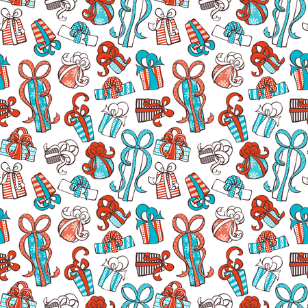 giftware: Seamless festive pattern. Doodles gifts on white background. Boundless texture can be used for web page backgrounds, wallpapers, wrapping papers, invitation, congratulations and festive designs.