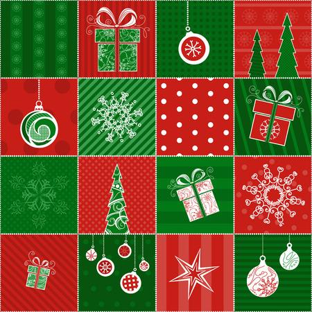 クリスマス包装紙。クリスマス デザインのシームレスなパターン。赤と緑の無限の背景。