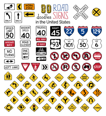 Vector set of cartoon road signs in the United States. Hand-drawn traffic sign icons isolated on white background.  イラスト・ベクター素材