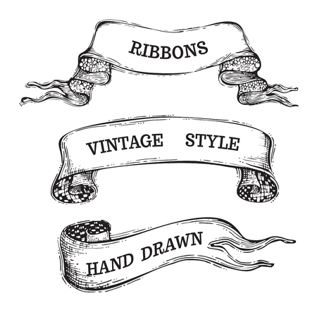 Vintage banner ribbons isolated on white background. Black and white illustration. There is copy space for your text.