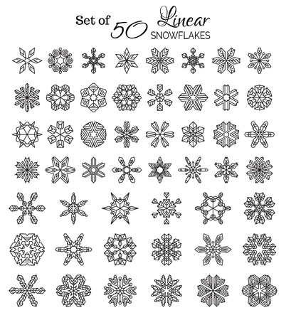 outlined isolated: Vector Set of 50 Outlined Snowflakes. Vintage linear snowflakes isolated on white background.
