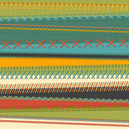 stitching: Set of seamless stitch brushes. Various sewing design elements isolated on textile background. All used pattern brushes included.