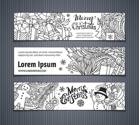 cajas navide�as: Vector conjunto de banderas de la Navidad doodles. �rbol de Navidad y adornos, Santa calcet�n, sombrero y barba, mu�rdago, cajas de regalo, mu�eco de nieve, los remolinos y de texto, hombre de pan de jengibre, dulces, campanas y cintas, las estrellas y la taza escrito a mano. No hay lugar para el texto en blanco